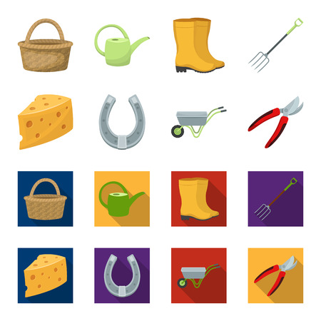 Cheese with holes, a trolley for agricultural work, a horseshoe made of metal, a pruner for cutting trees, shrubs. Farm and gardening set collection icons in cartoon,flat style vector symbol stock illustration web.
