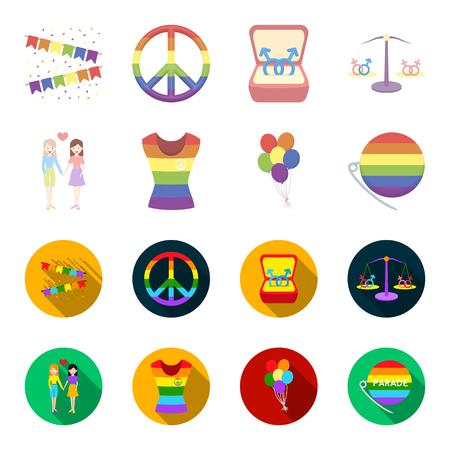 Lesbians, dress, balls, gay parade. Gay set collection icons in cartoon,flat style vector symbol stock illustration web.
