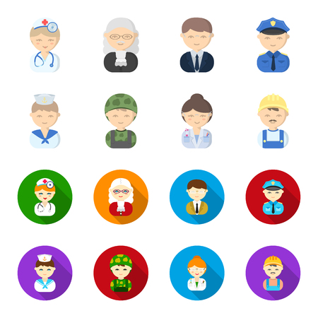 Sailor, soldier, scientist, builder.Profession set collection icons in cartoon,flat style vector symbol stock illustration web.