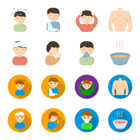 A man with a bandaged head, a man coughing, a man snorts a snot, a bowl, a bowl of hot broth into a handkerchief. Sick set collection icons in cartoon,flat style vector symbol stock illustration web.