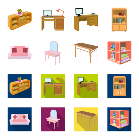 Soft sofa, toilet make-up table, dining table, shelving for laundry and detergent. Furniture and interior set collection icons in cartoon,flat style isometric vector symbol stock illustration web. Ilustração