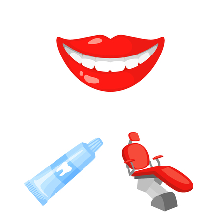 Dental care cartoon icons in set collection for design.