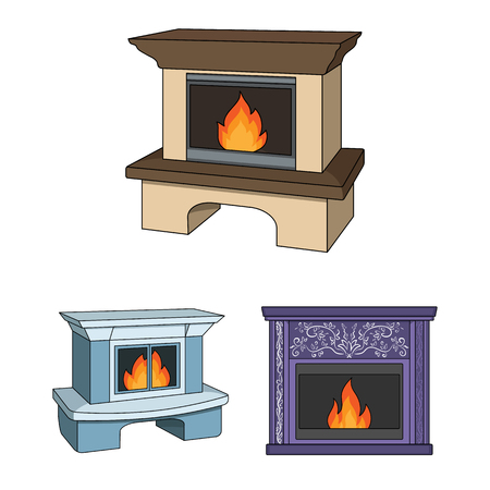 Different kinds of fireplaces cartoon icons in set