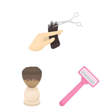 Hairdresser and tools cartoon icons in set