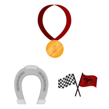 Hippodrome and horse cartoon icons in set
