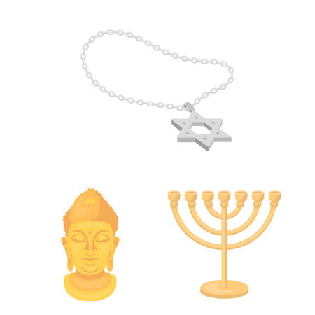 Religion and belief cartoon icons in set