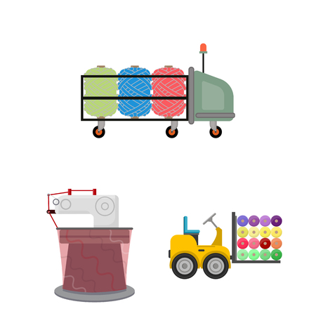 Textile industry cartoon icons in set Illustration