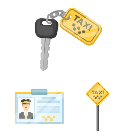 Taxi service cartoon icons in set Vectores