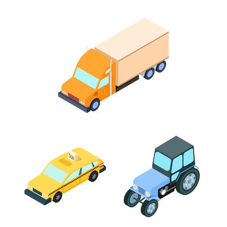 Different types of transport cartoon icons in set Иллюстрация
