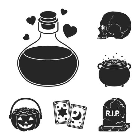 Black and white magic black icons in set Illustration