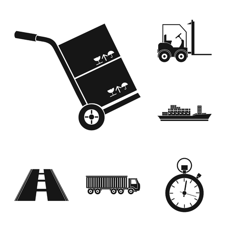 Logistics service black icons in set