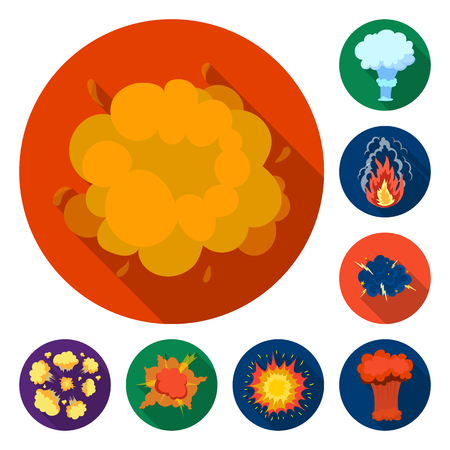 Different explosions flat icons in set collection for design.Flash and flame vector symbol stock  illustration.