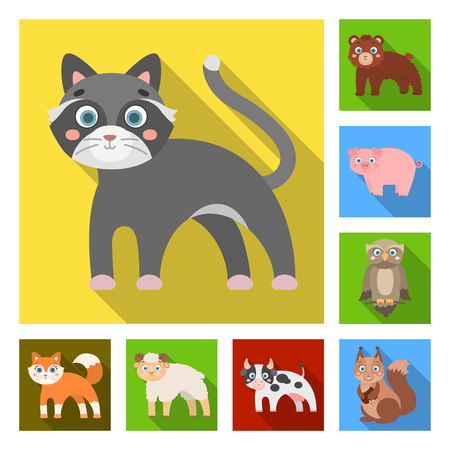 Toy animals flat icons in set Illustration
