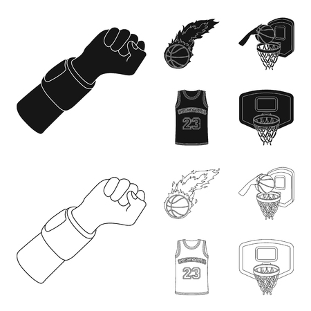 Basketball and attributes black,outline icons in set collection for design.Basketball player and equipment vector symbol stock  illustration.