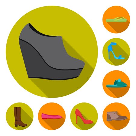 A variety of shoes flat icons in set