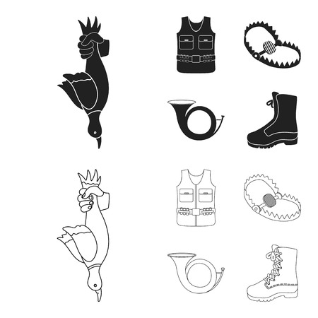 A trophy in his hand, a steel trap, a hunting vest with patronage, a horn. Hunting set collection icons in black,outline style vector symbol stock illustration