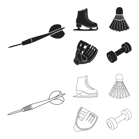 Darts darts, white skate skates, badminton shuttlecock, glove for the game.Sport set collection icons in black,outline style vector symbol stock illustration . Stock Illustratie