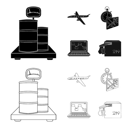 Transport aircraft, delivery on time, computer accounting, control and accounting of goods. Logistics and delivery set collection icons in black,outline style isometric vector symbol stock illustration .