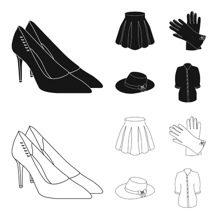 Skirt with folds, leather gloves, women hat with a bow, shirt on the fastener. Women clothing set collection icons in black,outline style vector symbol stock illustration .