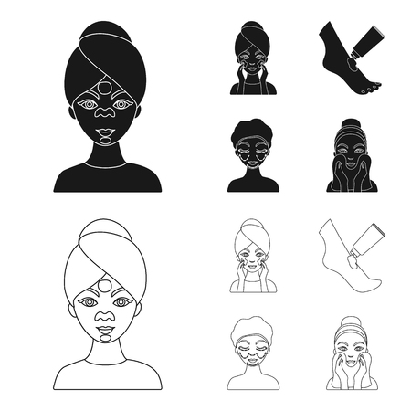 Face care, plastic surgery, face wiping, moisturizing the feet. Skin Care set collection icons in black,outline style vector symbol stock illustration .