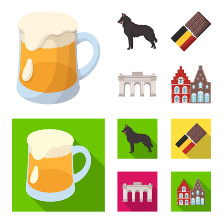 Chocolate, cathedral and other symbols of the country.Belgium set collection icons in cartoon,flat style vector symbol stock illustration .