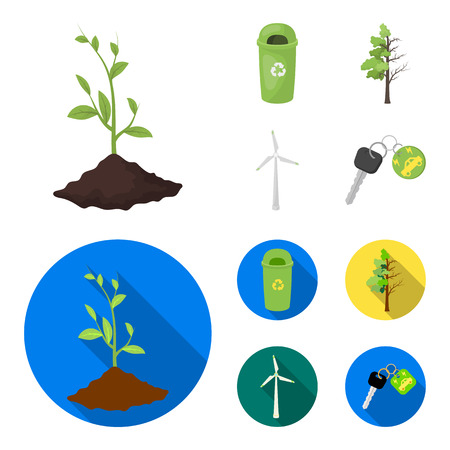 A garbage can, a diseased tree, a wind turbine, a key to a bio car.Bio and ecology set collection icons in cartoon,flat style vector symbol stock illustration .