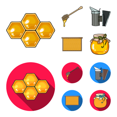 A frame with honeycombs, a ladle of honey, a fumigator from bees, a jar of honey.Apiary set collection icons in cartoon,flat style vector symbol stock illustration . Illustration