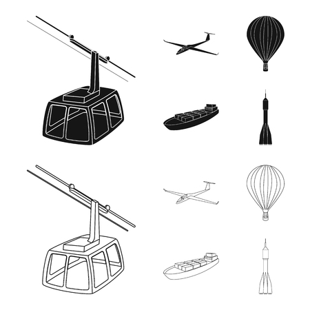 A drone, a glider, a balloon, a transportation barge, a space rocket transport modes. Transport set collection icons in black,outline style vector symbol stock illustration .