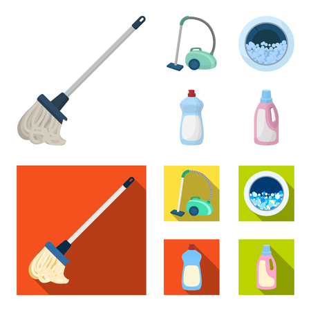 A mop with a handle for washing floors, a green vacuum cleaner, a window of a washing machine with water and foam, a bottle with a cleaning agent. Cleaning set collection icons in cartoon,flat style vector symbol stock illustration .