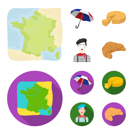 Umbrella, traditional, cheese, mime .France country set collection icons in cartoon,flat style vector symbol stock illustration . Illustration