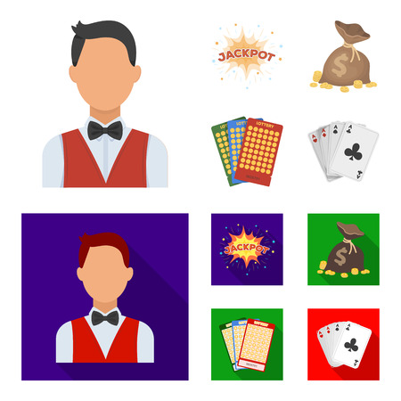 Jack sweat, a bag with money won, cards for playing Bingo, playing cards. Casino and gambling set collection icons in cartoon,flat style vector symbol stock illustration .
