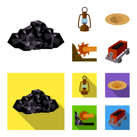 A miner lamp, a funnel, a mining combine, a trolley with ore.Mining industry set collection icons in cartoon,flat style vector symbol stock illustration . Illustration