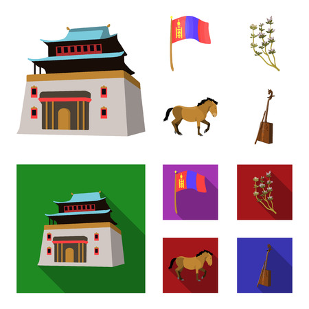 National flag, horse, musical instrument, steppe plant. Mongolia set collection icons in cartoon,flat style vector symbol stock illustration .