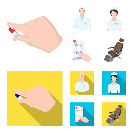 The attending physician, the nurse, the cardiogram of the heart, the dental chair. Medicineset collection icons in cartoon,flat style vector symbol stock illustration . Illustration