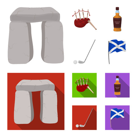 Stone monument, bagpipe, whiskey, golf. Scotland country set collection icons in cartoon,flat style vector symbol stock illustration .