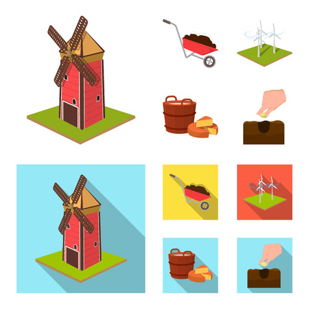 Garden, plot, ecology and other  icon in cartoon,flat style. Drink, liquid, farm icons in set collection.