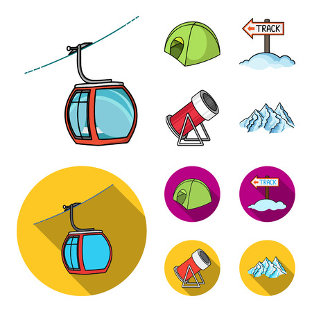 Funicular, tent, road sign, snow cannon. Ski resort set collection icons in cartoon,flat style vector symbol stock illustration .