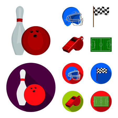 Bowl and bowling pin for bowling, protective helmet for playing baseball, checkbox, referee, whistle for coach or referee. Sport set collection icons in cartoon,flat ,flat style vector symbol stock illustration .
