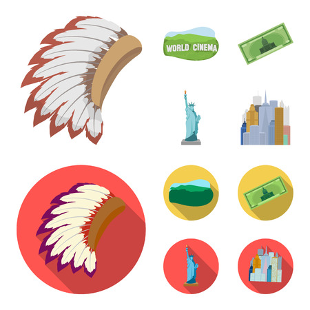 Mohavk, world cinema, dollar, a statue of liberty.USA country set collection icons in cartoon,flat style vector symbol stock illustration . Illustration