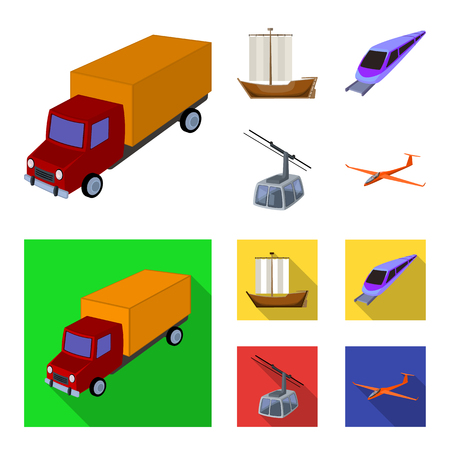 The truck, the boat, the subway, the funicular modes of transport. Transport set collection icons in cartoon,flat style vector symbol stock illustration . Illustration