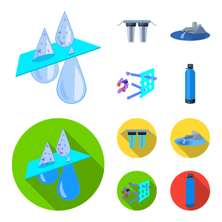Filter, filtration, nature, eco, bio .Water filtration system set collection icons in cartoon,flat style vector symbol stock illustration . Illustration