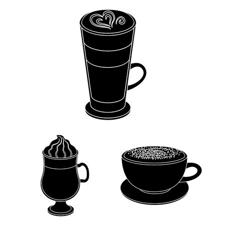 Different kinds of coffee black icons in set collection for design. Coffee drink vector symbol stock  illustration. 向量圖像