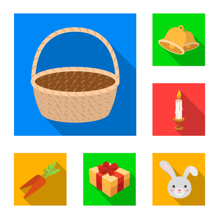 Easter is a Christian holiday flat icons in set collection for design. Easter attributes vector symbol stock  illustration.  イラスト・ベクター素材