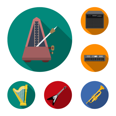 Musical instrument flat icons in set collection for design. String and Wind instrument vector symbol stock web illustration.