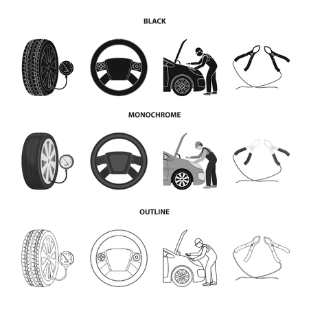 Car maintenance icons in set collection