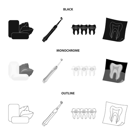 Mint chewing gum with mint leaves, toothbrush with bristles, bregettes with teeth, X-ray of the tooth. Dental care set collection icons in black,monochrome,outline style vector symbol stock illustration