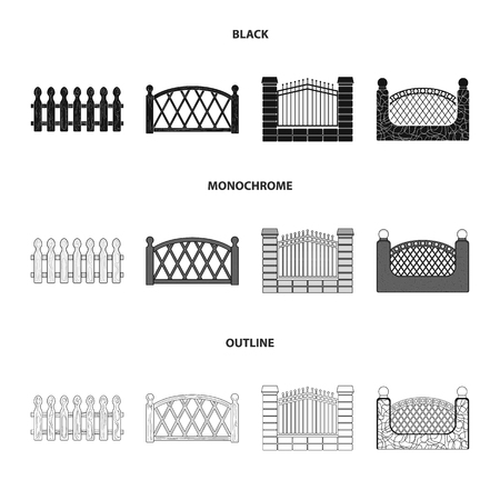 A fence of metal and bricks,wooden palisade. A different fence set collection icons in black,monochrome,outline style vector symbol stock illustration