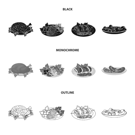 Fried chicken, vegetable salad, shish kebab with vegetables, fried sausages on a plate. Food and Cooking set collection icons in black,monochrome,outline style vector symbol stock illustration . Ilustrace