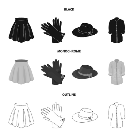 Women clothing set collection icons in black. Illustration