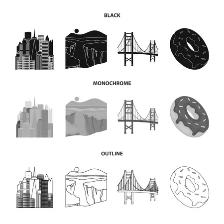 A megacity, a grand canyon, a golden gate bridge, donut with chocolate. The US country set collection icons in black,monochrome,outline style vector symbol stock illustration .